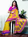 Designer Casual Yellow Color Georgette Printed Saree