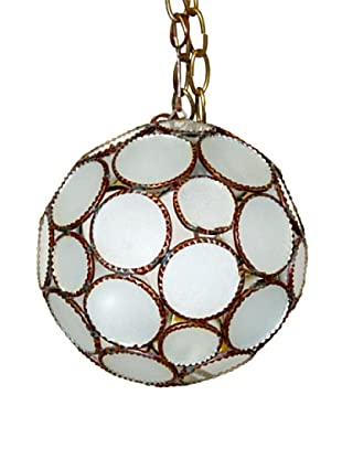 Badia Design Round Ball Hanging Shade, Brass/White Glass