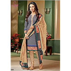 Siyaram's Gray & Beige Colour Cotton Churidar