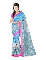 Jai Maa Ambey Creation Women's Cotton Silk Saree (Blue)