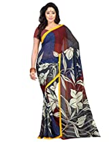 Admyrin Multi Colour Printed Saree with Georgette Blouse