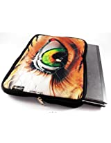Devarshy Limited Edition Digital Print 17 Inch Laptop Sleeves/Case With Computer Quilting - Teary Green Eye