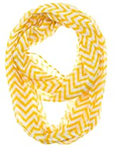 Cotton Cantina Soft Chevron Sheer Infinity Scarf (Yellow/White)