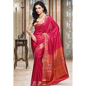 Dark Fuchsia Pure Kanchipuram Handloom Silk Saree with Blouse