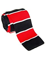 "Retreez Casual Preppy Wide Stripes Men's 2.4"" Skinny Knit Tie - Black and White and Red"