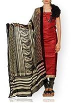 Unnati Silks Women Unstitched party red-cream pure Tussar ghicha silk salwar Kameez