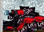 Star 3D-Love Design Double Bedsheet with 2 Pillow Covers