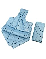 Orosilber Navy Dots on Sky- Blue Cravat with Pocket Square Set | Color Multicolour