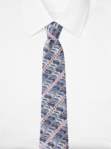 Emilio Pucci Men's Geometric Wave Tie, Blue/Grey