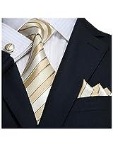 Landisun 18A48 Beige Brown Striped Mens Silk Tie Set: Tie+Hanky+Cufflinks
