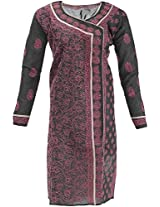 Lucknow Chikan Industry Women's Cotton Straight Kurta (LCI-388, Black, XXL)