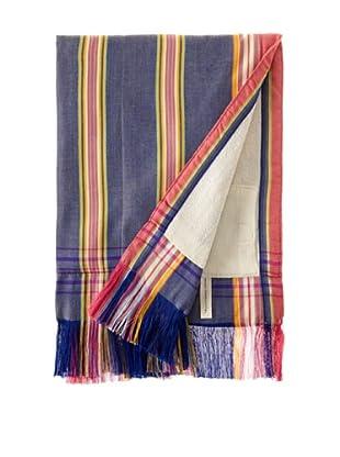 Nomadic Thread Society Fringed Surf Sarong Towel (Denim/Pink/Yellow)
