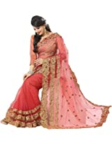 Beautiful Peach Wedding Wear Saree Embroidry Stone Work Net Sari
