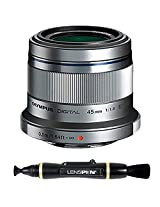 Olympus M. Zuiko Digital ED 45mm f1.8 (Silver) Lens for Olympus and Panasonic Micro 4/3 Cameras + Lenspen NLP-1 Cleaning Brush (Black)