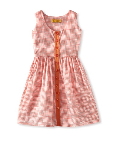 Zolima Girls Button-Up Dress (Mandarin Rose Checks)