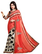 Kvsfab Georgette Saree (Kvs 1303Val _Orange With White)