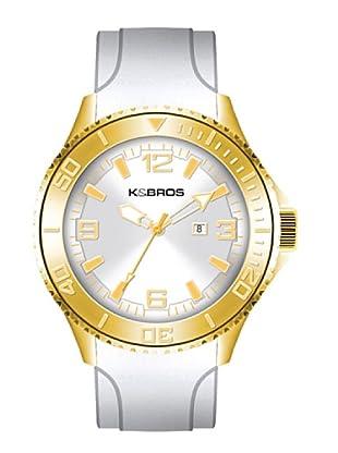 K&BROS 9563-4 / Reloj de Caballero  con correa de caucho Blanco