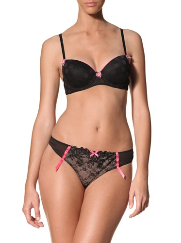 Betsey Johnson Women's Rose Embroidered Lace Thong (Black)