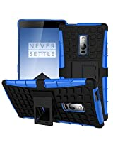 Kapa Dual Layer Shockproof Defender Kick Stand Back Case Cover For Oneplus 2 (Two) - Blue
