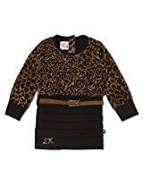 Animal Printed Layered Girls Dress Brown
