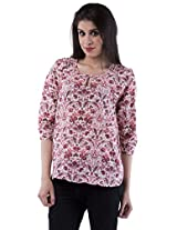 AARR Pink Floral Printed 3/4 Sleeves Round Neck Polycotton Top