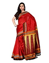 Vibes Women's Bhagalpuri Art Silk Saree With Blouse (S55-1304A_Red Colour)