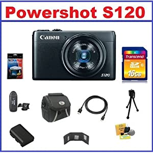 Canon PowerShot S120 12.1 MP CMOS Digital Camera with 5x Optical Zoom 10-Piece Bundle With 16GB SDHC High Speed Memory Card, Extra NB-6L Battery, Mini HDMI Cable, Memory Card Wallet, 3-piece Cleaning Kit, Small Tripod, Screen Protector and Card Reader