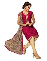 Sonal Trendz Red Color Embroidery Semi-Stitched Suit.