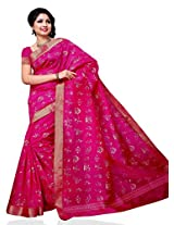 Meghdoot Tassar Silk Artificial Saree (JM129_RANI-Pink Color Sari)