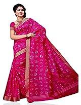 Meghdoot Tassar Silk Artificial Saree (JM129_RANI-Pink Color Sari)