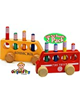 The Original Toy Company Pop Up Wooden Fire Truck & Pop Up Wooden School Bus Gift Set Bundle 2 Pack