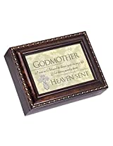 Godmother Dark Burl Wood Finish with Gold Trim Jewelry Music Box - Plays Tune Pachelbels Canon in D