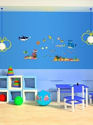 Vinilo Adhesivo ballena y animales del mar Multicolores