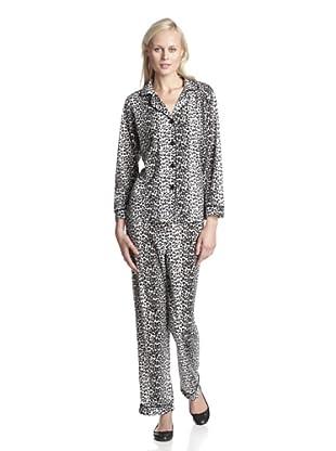 BH PJ's by BedHead Pajamas Women's Classic Notch Collar Pajama Set (Snow Leopard Black)