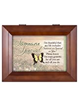 Someone Special Butterfly Grateful Wood Finish Jewelry Music Box - Plays Tune You Are My Sunshine