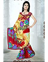 A G Lifestyle Yellow And Red Faux Georgette Saree with Unstitched Blouse SUH1016