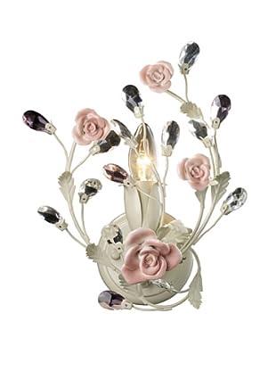 Artistic Lighting Heritage 1-Light Porcelain Roses Sconce, Cream