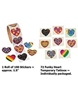 Funky Heart Tattoos & Stickers (172 Pieces)