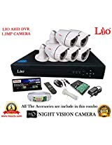 AHD LIO 8CH DVR + AHD 1.3 Megapixel High Resolution LIO 36IR BULLET CAMERA 5pcs + 1 TB WD HDD + CABLE 3+1 COPPER + POWER SUPPLY (FULL COMBO)