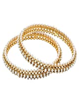 Gold & More Gold Plated Pearl Bangles(Set of 2)