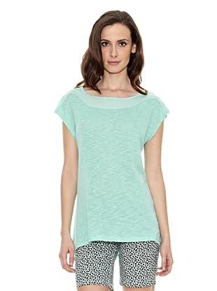 Cortefiel Camiseta Lisa Cremaller (Verde)