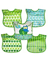 green sprouts  Wipe-Off Bib, Green Owl, 5 Count