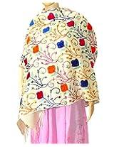 Indian Fashion Guru| White| gift| woolen stole| Flower design| Embroidery stole| shawl