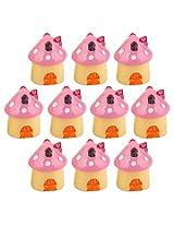 Generic 10pcs Miniature Dollhouse Bonsai Garden Landscape Mushroom House Decor Pink