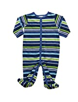 Bright Blue & Green 100% Cotton Knitted Velour Boys Full Length Body Suit With Feet.