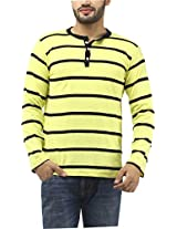 Leana Men's Button Front T-Shirt (SR35_Yellow Black_S)
