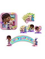 Hallmark Doc Mcstuffins Deluxe Party Set For 8 8 Dinner Plates, 16 Napkins, Set Of 3 Mini Centerpieces, And 5 Ft. Birthday Banner