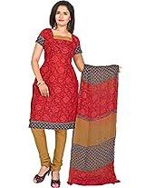 Vardhman Gajri Cotton Jacquard Unstitched Straight Salwar Suit dress material