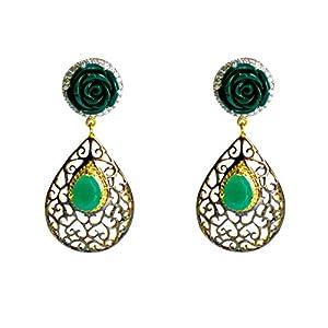 Daamak Jewellery Green Rose Earring