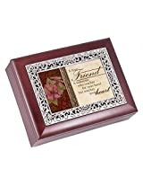A True Friend Rosewood Finish with Silver Inlay Jewelry Music Box - Plays Tune Wonderful World